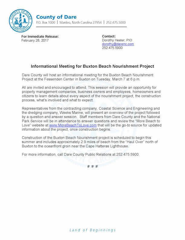 Beach Nourishment Release - Cape Hatteras Motel