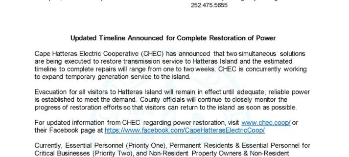 Power Restoration - Cape Hatteras Motel